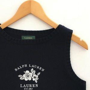 Ralph Lauren Navy Embroidered Sweater Vest - S